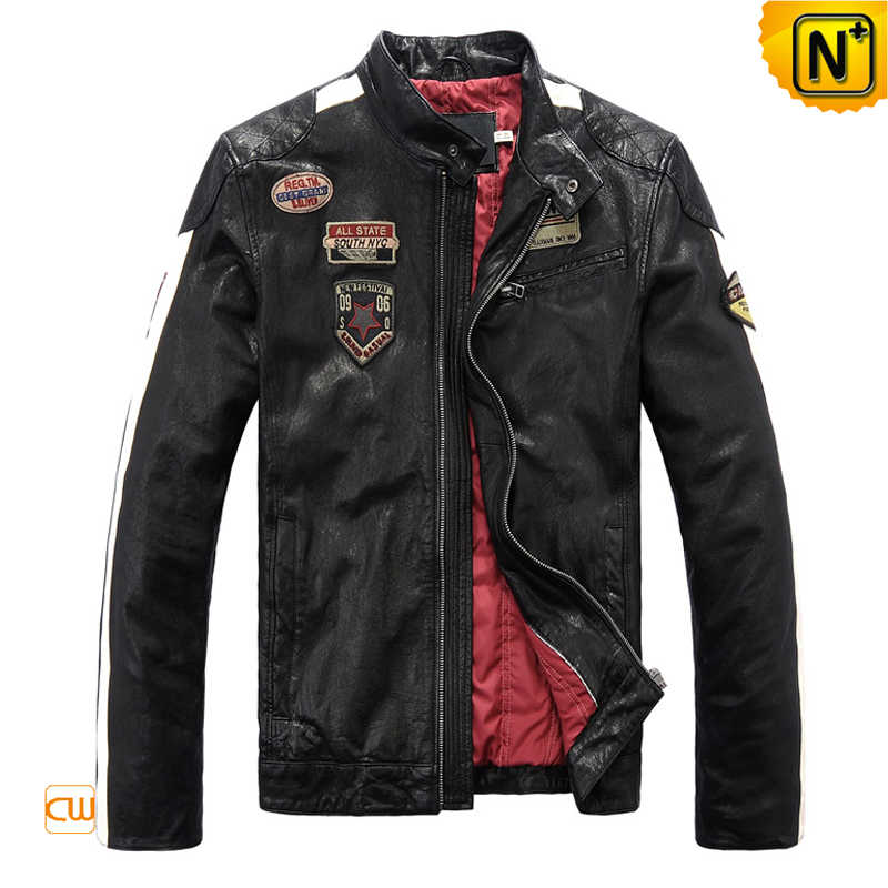 men leather motorcycle jacket cw813028